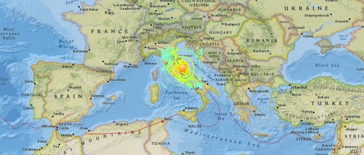 Earthquake locator map in Italy
