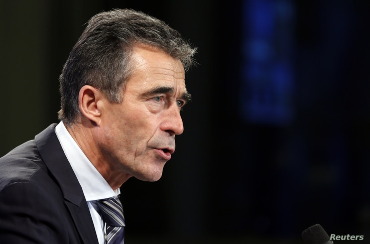 NATO Secretary-General Anders Fogh Rasmussen addresses a news conference in Brussels, November 5, 2012.