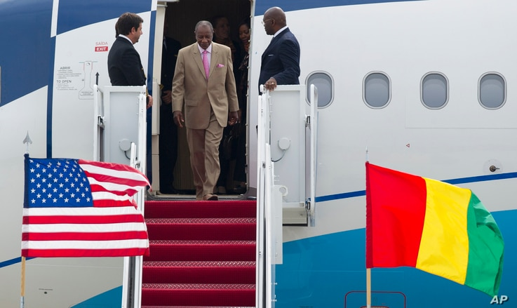 Republic of Guinea Prime Minister Mohamed Said Fofana arrives at Andrews Air Force Base, Md., Aug. 2, 2014, to attend the US - Africa Leaders Summit.