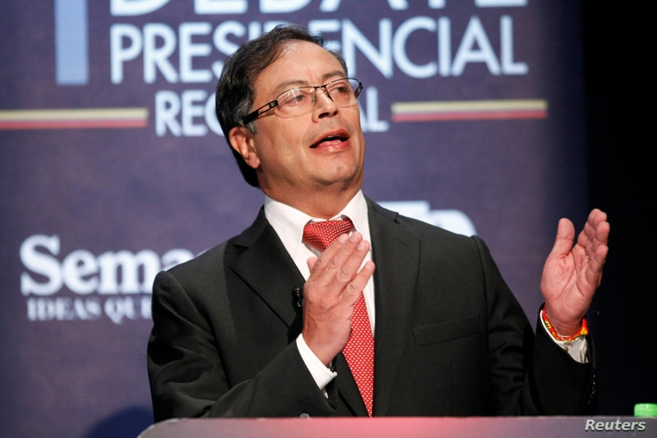 FILE - Candidate for the Presidency of Colombia Gustavo Petro speaks in the first presidential debate in Medellin, Colombia, April 3, 2018.