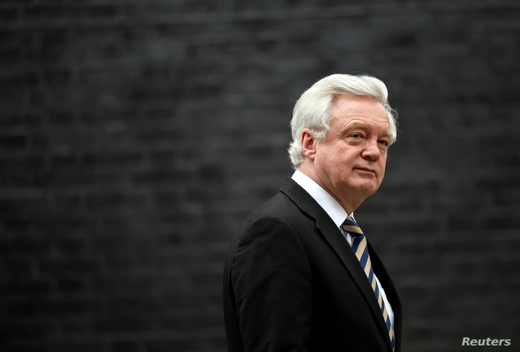 FILE - Then-Britain's Secretary of State for Exiting the European David Davis leaves 10 Downing Street, London, Jan. 29, 2018.