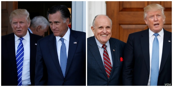 This composite photo shows U.S. President-elect Donald Trump with former Massachusetts Governor Mitt Romney, and former New York Mayor Rudy Giuliani with Trump, both from November 2016.