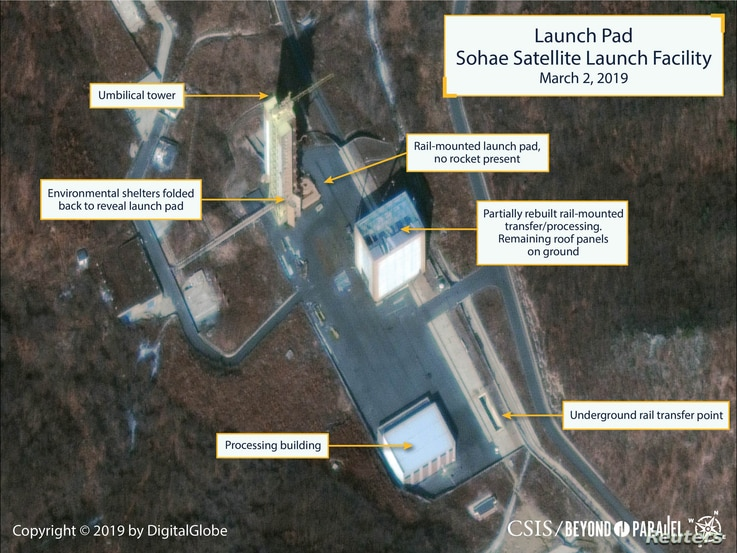 The Sohae Satellite Launching Station launch pad features what researchers of Beyond Parallel, a CSIS project, describe as showing the partially rebuilt rail-mounted rocket transfer structure in a commercial satellite image taken over Tongchang-ri, N...
