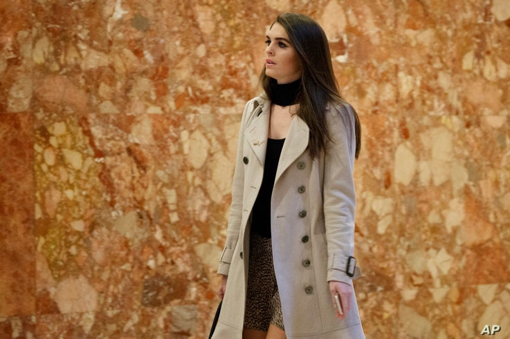 Hope Hicks, press secretary for President-elect Donald Trump's campaign, arrives at Trump Tower,  Nov. 14, 2016, in New York.