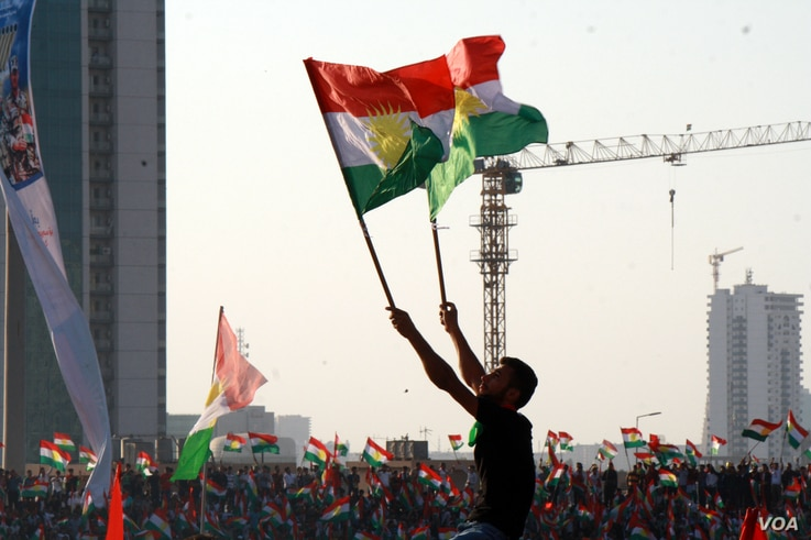 International and domestic opponents say the referendum could cause internal and international conflicts if it goes forward, but these supporters say their time for independence is now, in Irbil, in the Kurdistan Region of Iraq, Sept. 22, 2017.