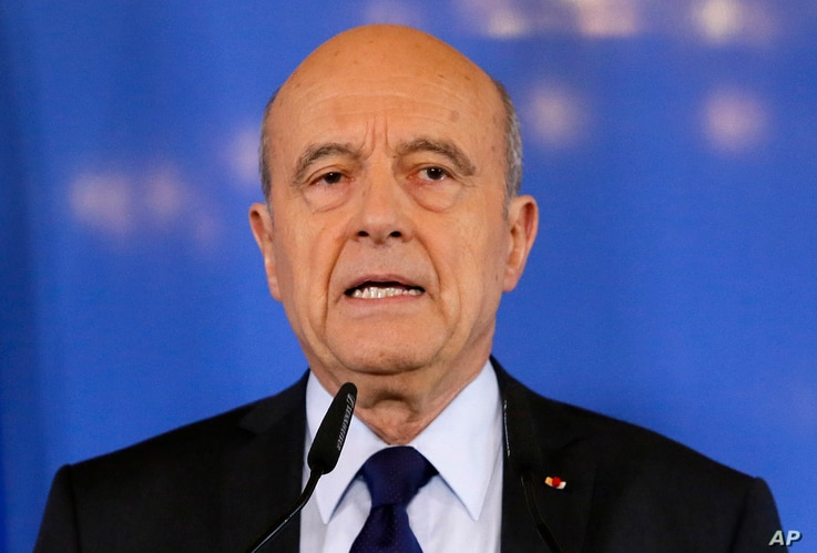 Former French prime minister Alain Juppe delivers a speech in Bordeaux, France, March 6, 2017.