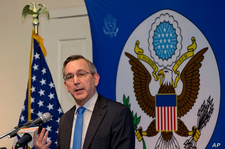 Scot Marciel, U.S. Ambassador to Myanmar, addresses the audience during his first public speech as the Ambassador to Myanmar in Yangon, Myanmar, May 10, 2016.