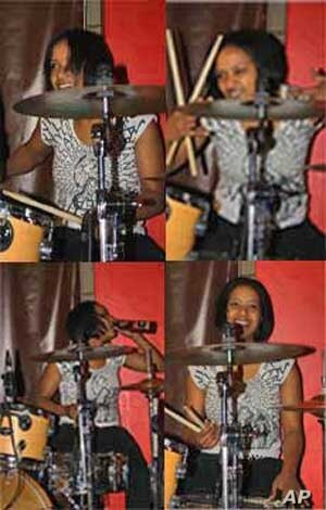 Swazi drummer Bianca Nobanda in action at a live gig in Johannesburg