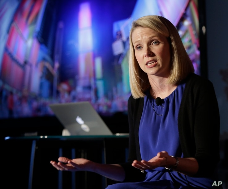 FILE - Yahoo CEO Marissa Mayer speaks during a news conference in New York.