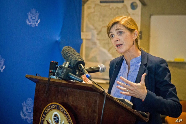 American ambassador to the United Nations Samantha Power speaks to media in Freetown, Sierra Leone, Oct. 27, 2014.