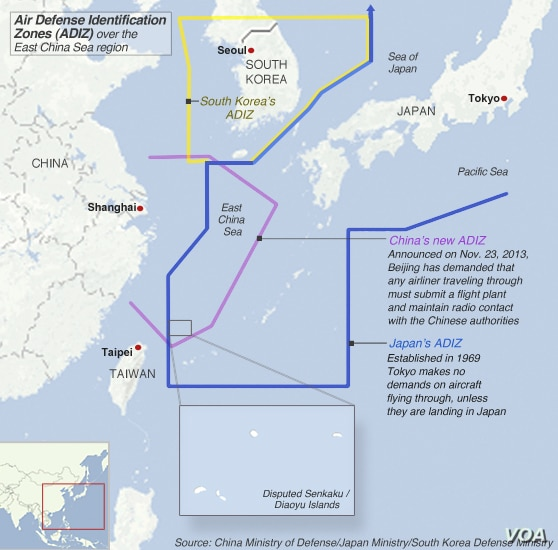 Air defense identification zones claimed by South Korea, China and Japan