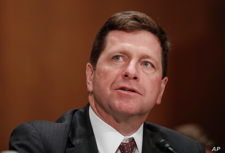 FILE- Securities and Exchange Commission (SEC) Chairman nominee Jay Clayton testifies on Capitol Hill in Washington at his confirmation hearing before the Senate Banking Committee, March 23, 2017.