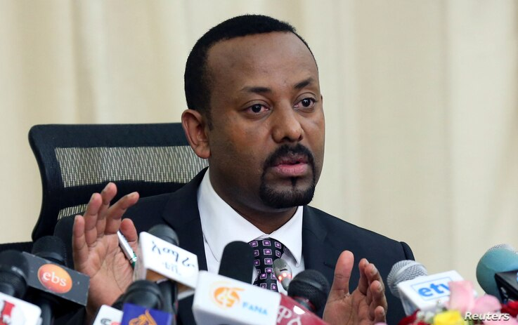 FILE PHOTO: Ethiopia's Prime Minister, Abiy Ahmed addresses a news conference in his office in Addis Ababa, Ethiopia August 25, 2018.