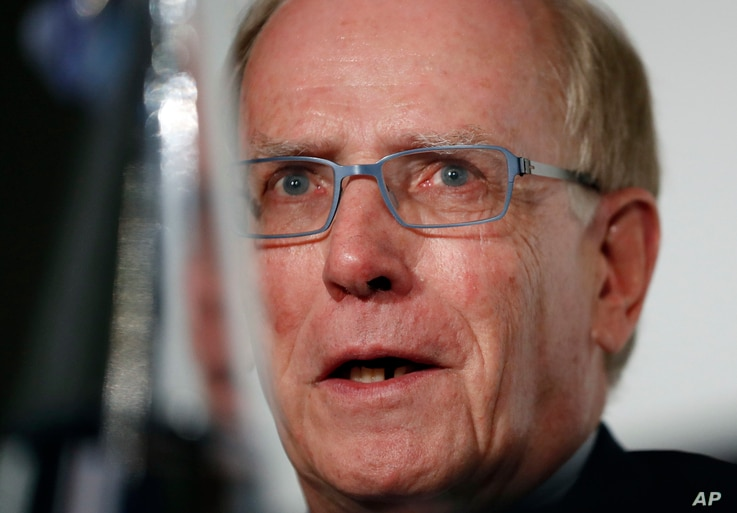 FILE - In this Dec. 9, 2016, photo, World Anti-Doping Agency investigator Richard McLaren speaks during a press conference in London.