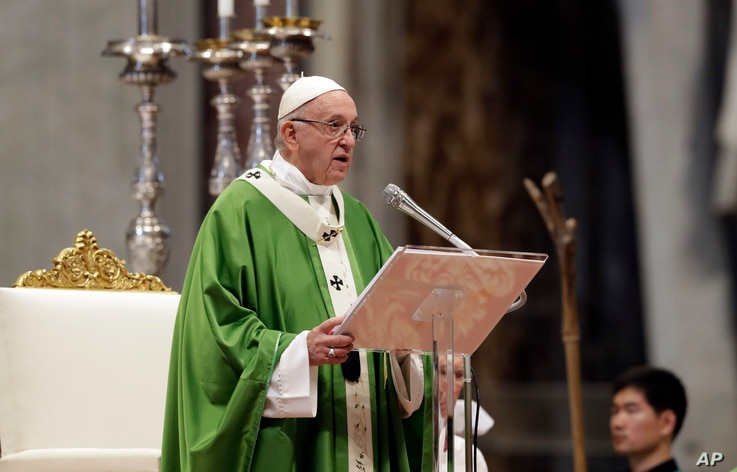 Pope Francis delivers his speech during a Mass for the closing of the synod of bishops in St. Peter's Basilica at the Vatican, Sunday, Oct. 28, 2018.