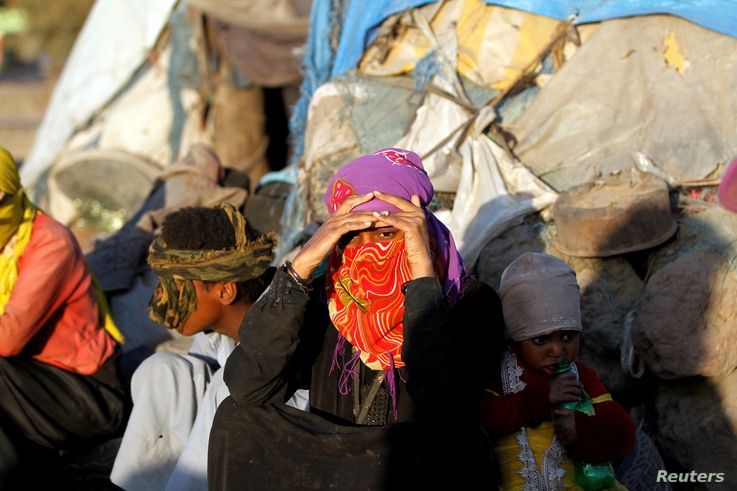 Displaced Yemeni are seen in a makeshift camp near Sana'a, Yemen, Nov. 17, 2017.