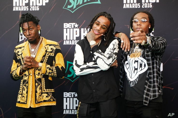 Hip Hop band Migos on the green carpet for the BET Hip Hop Awards in Atlanta.