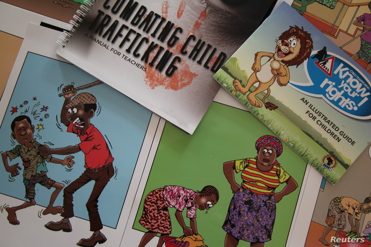 Materials designed by Nairobi-based charity HAART Kenya to help teachers inform children of the dangers of human trafficking in sensitive and engaging manner, March 27, 2018.