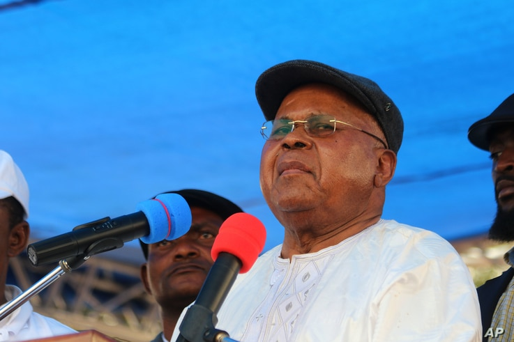 FILE - Congo opposition leader Etienne Tshisekedi during a political rally in Kinshasa, Congo, July 31, 2016.