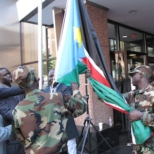 South Sudan's flag was raised in Washington to signal the country's arrival in the international community.