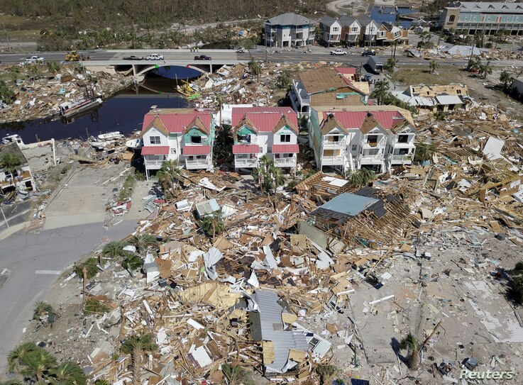 An aerial photo shows damaged and destroyed homes after Hurricane Michael smashed into Florida's northwest coast in Mexico Beach, Oct. 12, 2018