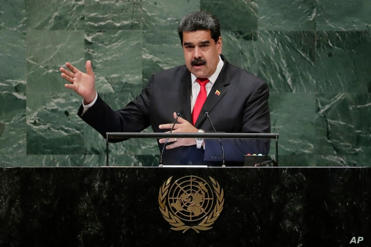 Venezuela's President Nicolas Maduro addresses the 73rd session of the United Nations General Assembly, Sept. 26, 2018, at the United Nations headquarters.