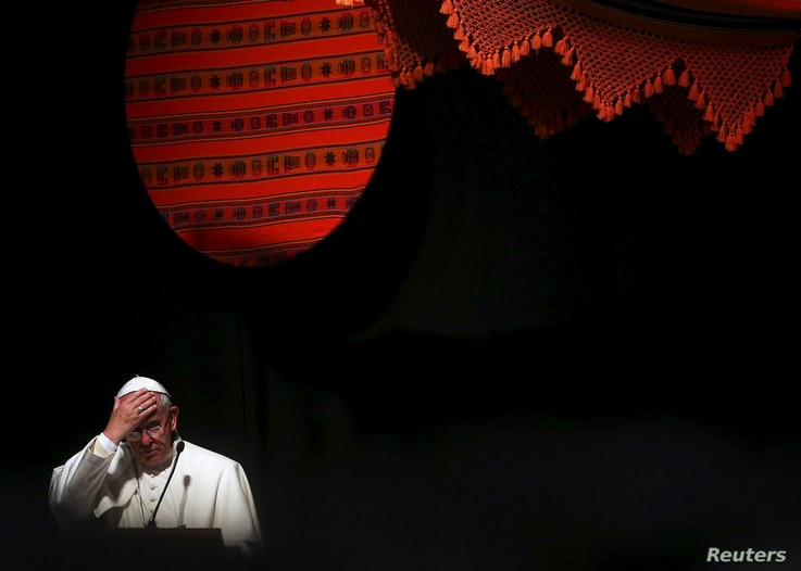 Pope Francis making as speech during a World Meeting of Popular Movements in Santa Cruz, Bolivia, July 9, 2015. The pope apologized for the sins committed by the Church against indigenous populations during the age of exploration and conquest of the ...