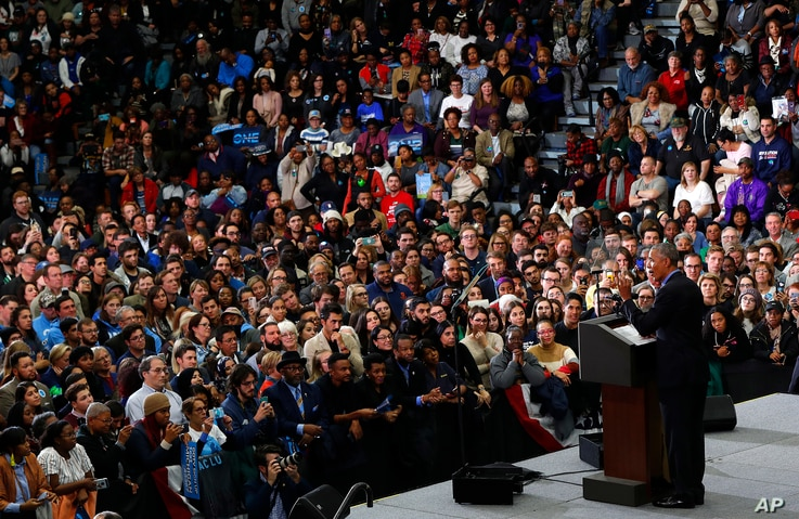 Former President Barack Obama speaks during a rally in Detroit, Oct. 26, 2018. Obama campaigned for Democrats in Michigan and Wisconsin ahead of the midterm elections. In a fiery speech in Milwaukee, he criticized President Donald Trump's tenure in o...