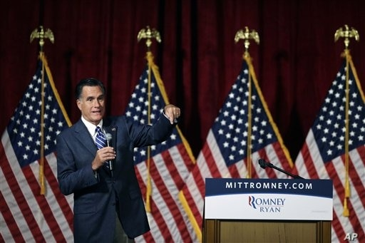 Republican presidential candidate and former Massachusetts Governor Mitt Romney speaks at a campaign fundraising event in Del Mar, California, September 22, 2012.