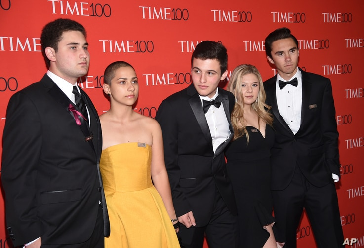 Parkland student activists Alex Wind, from left, Emma Gonzalez, Cameron Kasky​​​​, Jaclyn Corin and David Hogg attend the Time 100 Gala celebrating the 100 most influential people in the world in New York on  April 24, 2018.