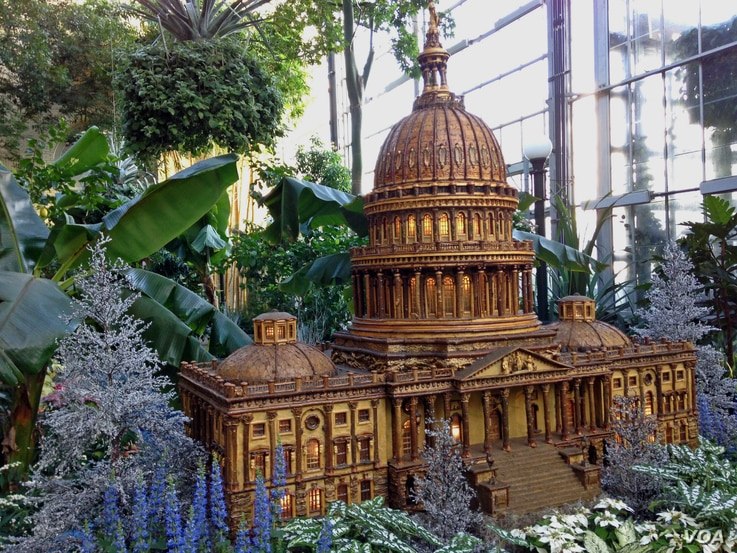 A large replica of the U.S. Capitol building is one of about a dozen D.C. landmarks on display at the U.S. Botanic Garden in Washington.