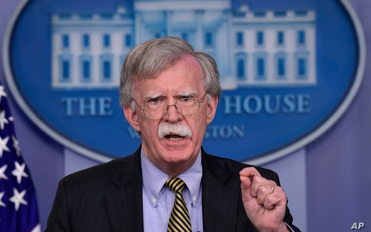 National Security Adviser John Bolton speaks during a briefing at the White House in Washington, Oct. 3, 2018.