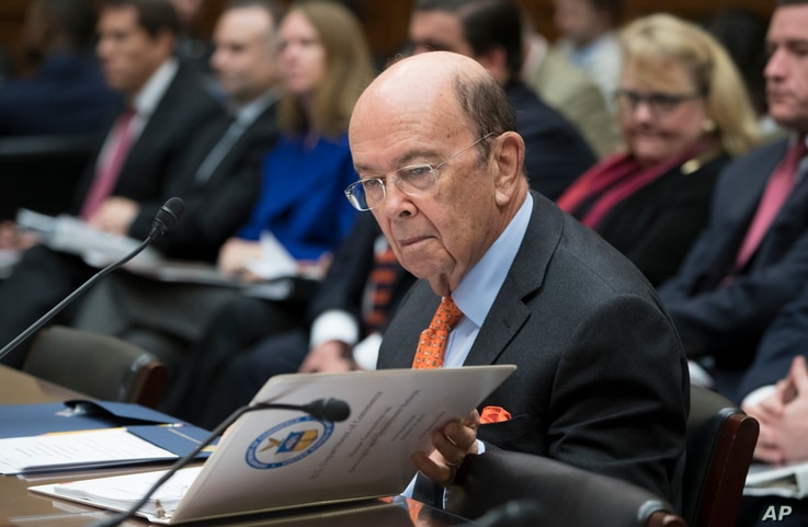 FILE - U.S. Commerce Secretary Wilbur Ross appears before the House Committee on Oversight and Government Reform, on Capitol Hill in Washington, Oct. 12, 2017.