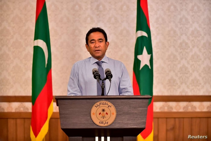 Maldivian President Abdulla Yameen speaks as he gives a statement at President office in Male, Sept. 24, 2018.