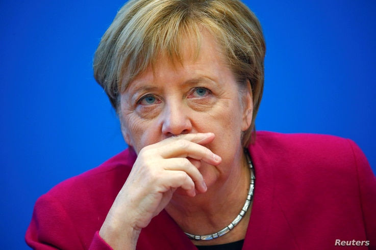German Chancellor Angela Merkel attends a board meeting following the Hesse state election in Berlin, Germany, October 29, 2018.