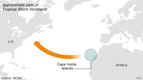 Tropical Storm Humberto - approximate path as of Sept. 9, 2013