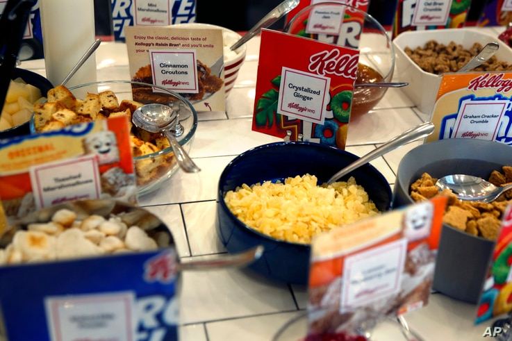 Extra toppings for cereal are available at Kellogg's NYC Cafe in New York, Dec. 14, 2017.
