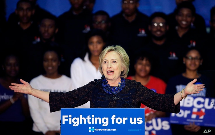 Democratic presidential candidate Hillary Clinton speaks during a campaign event at Clark Atlanta University, Oct. 30, 2015, in Atlanta, Georgia.