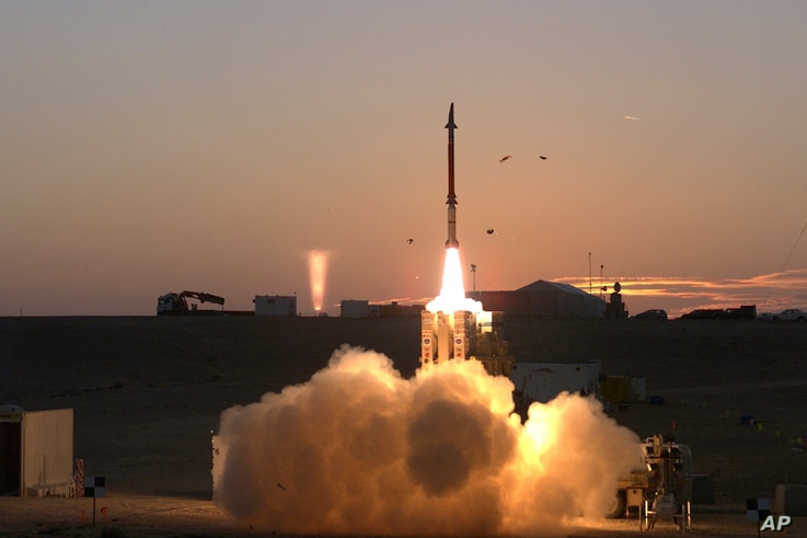 "FILE - A launch of David's Sling missile defense system, Dec. 21, 2015. The Defense Ministry said March 1, 2016, that the David's Sling system ""will allow Israel to more effectively defend against the wide range of current and future threats to its c..."