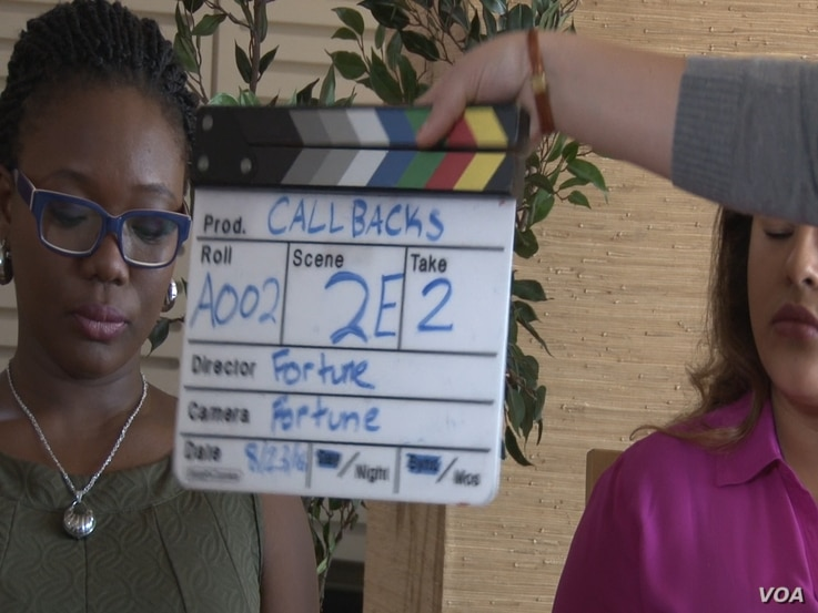 Nigerian actress, Olajumoke Bello Aruwajoye, shoots a short film in a final Hollywood in Focus project, in Los Angeles, August 2016.