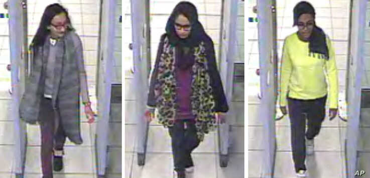 FILE - In this three image combo of stills taken from CCTV issued by the Metropolitan Police in London on Feb. 23, 2015, Kadiza Sultana, 16, left, Shamima Begum,15, center and 15-year-old Amira Abase going through security at Gatwick airport, before ...