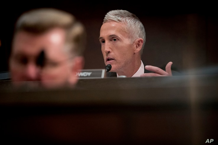 FILE - Rep. Trey Gowdy, R-S.C. questions Former Homeland Security Secretary Jeh Johnson as he testifies to the House Intelligence Committee task force on Capitol Hill in Washington, June 21, 2017, as part of the Russia investigation.