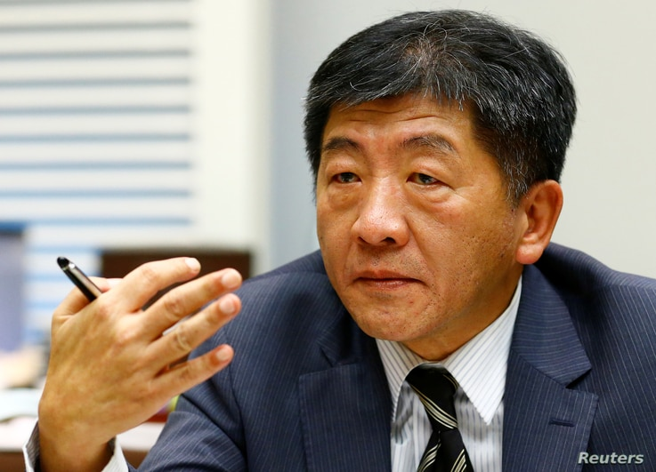 FILE - Chen Shih-chung, Taiwan's minister of health and welfare, during an interview with Reuters ahead of the World Health Assembly of the World Health Organization in Geneva, May 20, 2017.