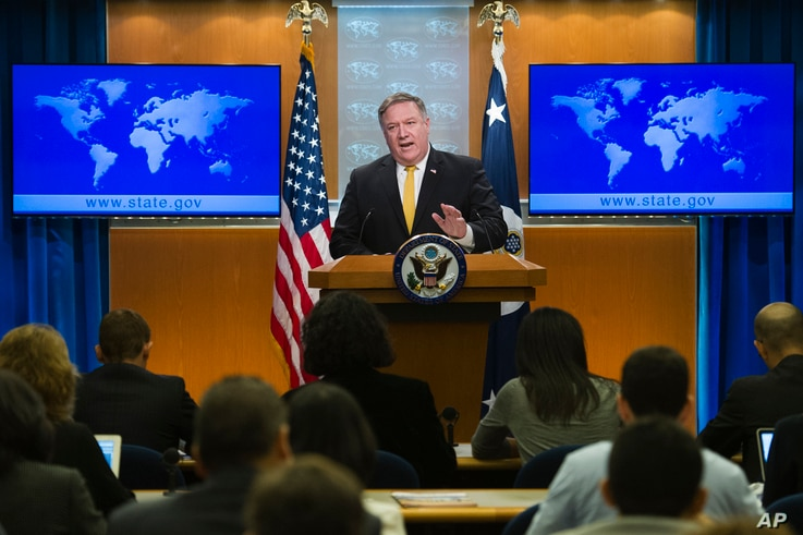 Secretary of State Mike Pompeo briefs reporters at the State Department in Washington, Oct. 3, 2018.
