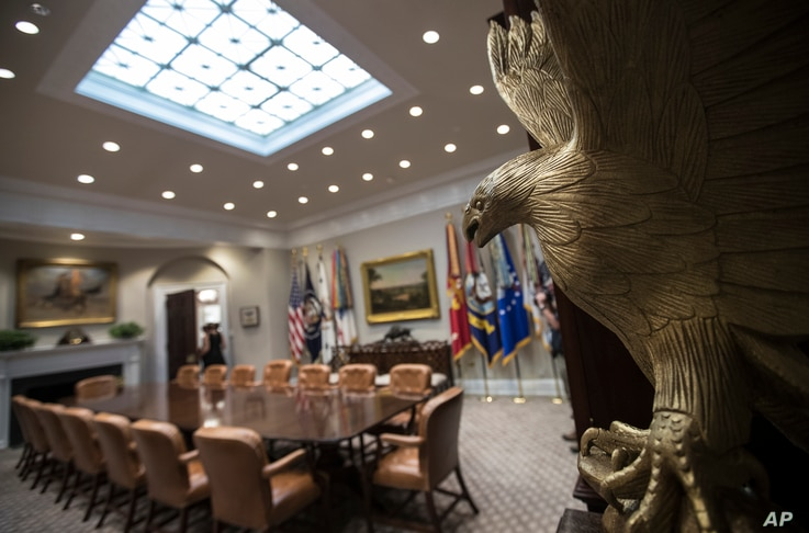 A statue of an eagle is seen in the newly renovated Roosevelt Room of the White House in Washington, Aug. 22, 2017, during a media tour.