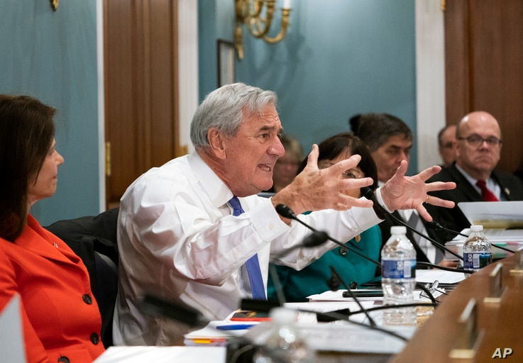 Rep. Richard Nolan, D-Minn., argues in opposition as members of the House Agriculture Committee craft a new farm bill that overhauls the food stamp program in Washington, April 18, 2018.