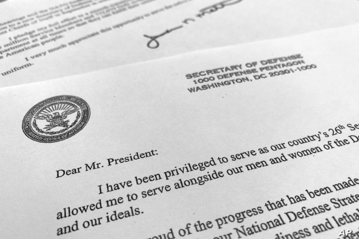 Part of Defense Secretary Jim Mattis' resignation letter to President Donald Trump is photographed in Washington, Dec. 20, 2018.
