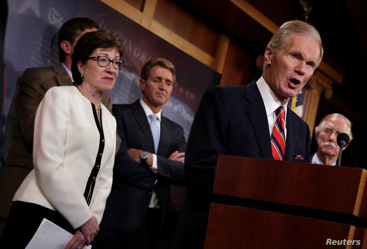 Senator Bill Nelson, a Florida Democrat, speaks during a news conference on Capitol Hill in Washington on a compromise proposal on gun control measures, June 21, 2016.