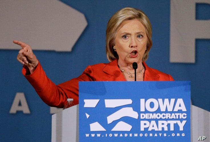 Democratic presidential candidate Hillary Rodham Clinton speaks during the Iowa Democratic Party's Hall of Fame Dinner in Cedar Rapids, Iowa, July 17, 2015.