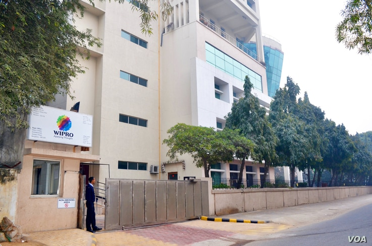 Wipro is a top Indian Information Technology firm which does outsourcing work in the US. One of its offices is located in Gurugram, a business hub near New Delhi. (A. Pasricha / VOA)